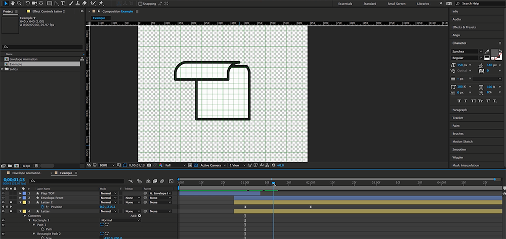 How to Create an Animated Envelope in After Effects — Step 7