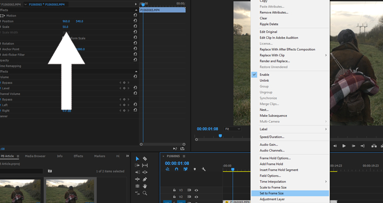 4 Premiere Pro Tips to Save Time — Set to Frame Size