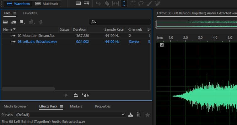 Quickly Send FLAC Files From Audition To Premiere Pro — WAV File