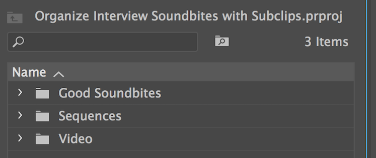 Organize Subclips