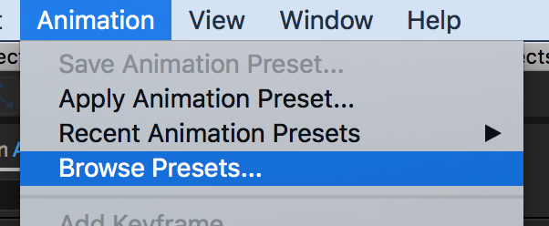 How to Apply Animation Presets in Adobe After Effects — Browse Animation Preset