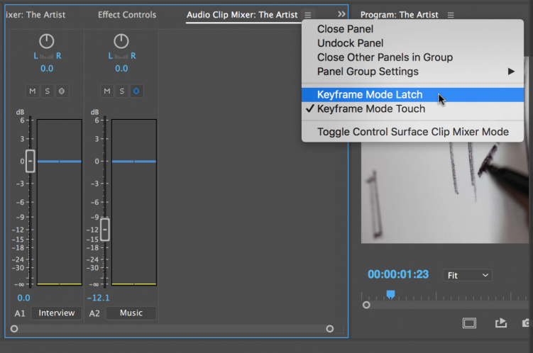Audio Mixing in Premiere Pro's Clip Mixer — Automation Mode
