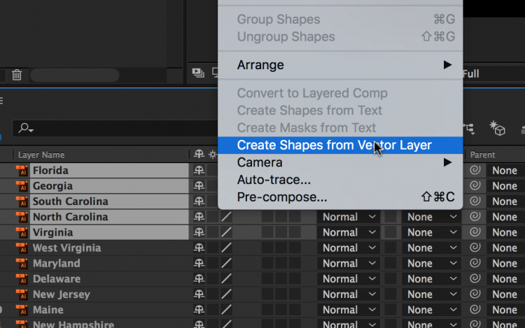 Working with Illustrator Files in Adobe After Effects — Create Shapes