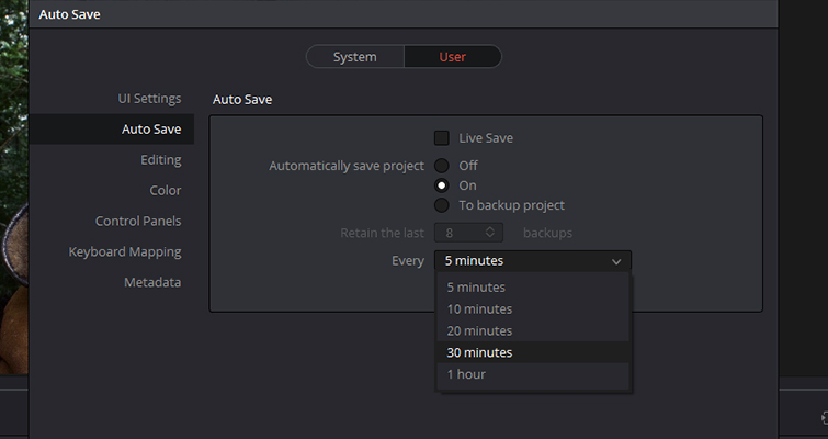 Get To Know DaVinci Resolve 14's Three Auto Save Functions — Settings