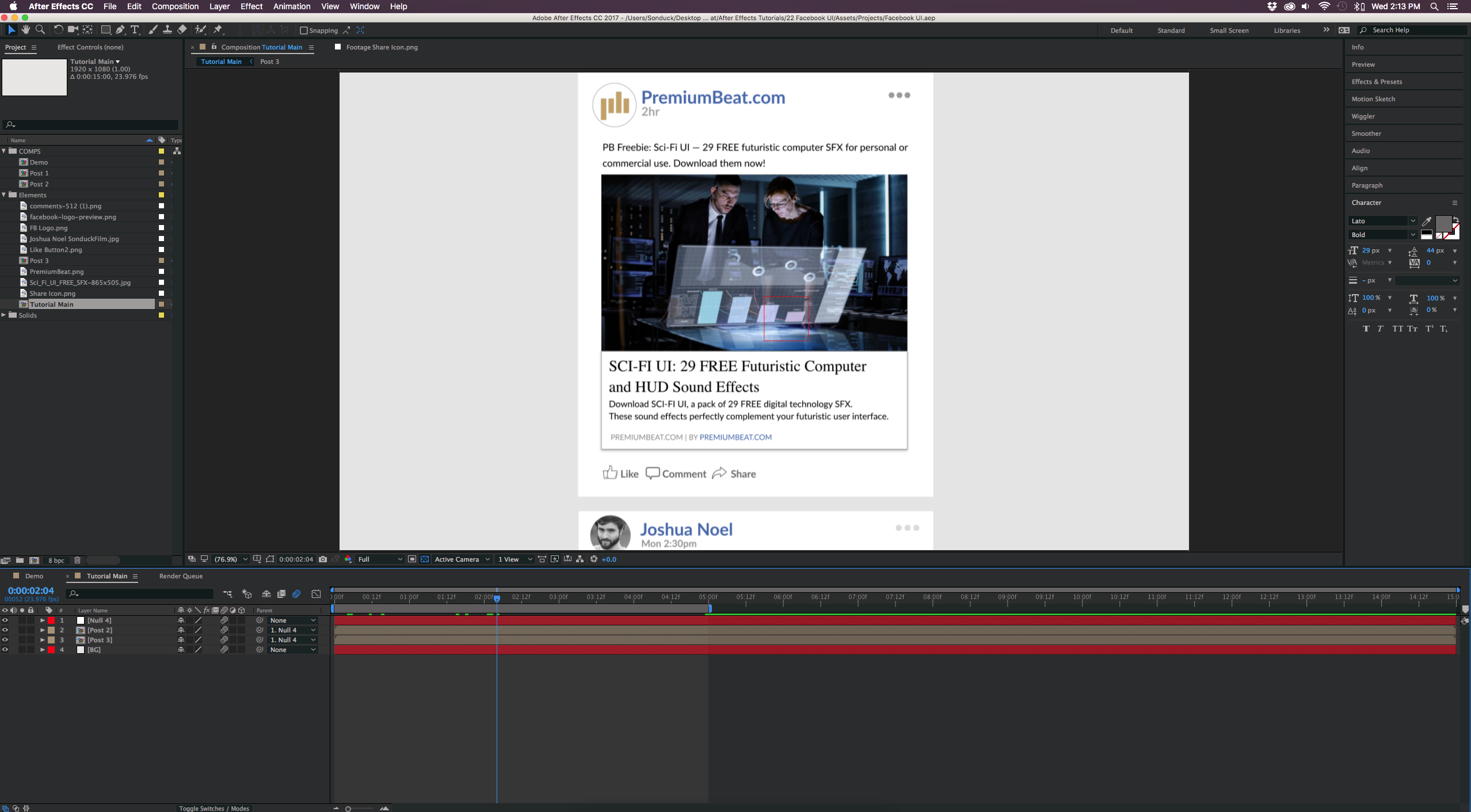 Create and Animate the Facebook UI in Adobe After Effects — Tutorial
