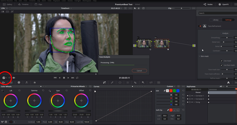 Working with DaVinci Resolve 14's Powerful Face Refinement Plug-in — Analyze Clip