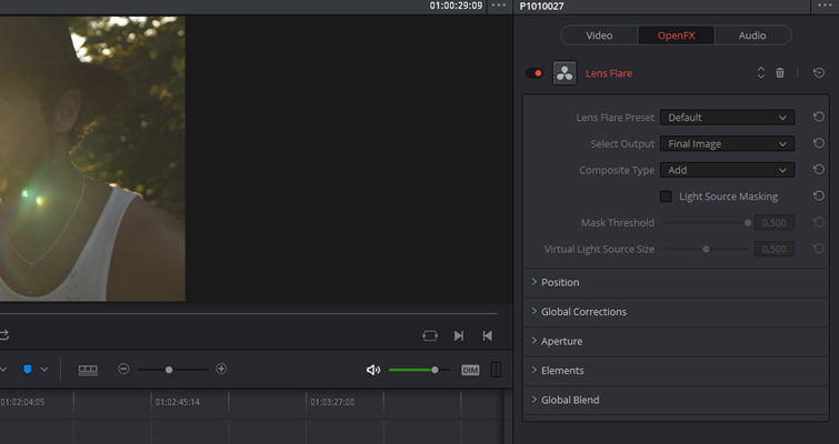 How to Create A Realistic Lens Flare In DaVinci Resolve — Effects Settings
