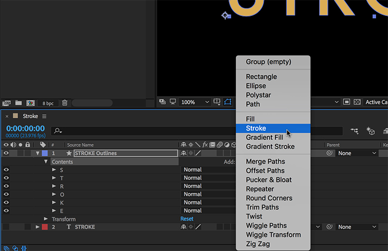 How to Animate a Text Stroke in Adobe After Effects — Add Stroke