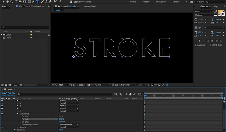 How to Animate a Text Stroke in AE 04