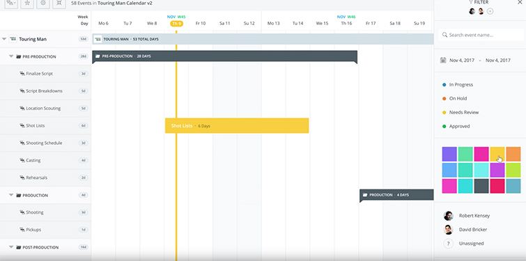 Introducing Digital Production Calendars for Video Professionals — Collaborative Sharing