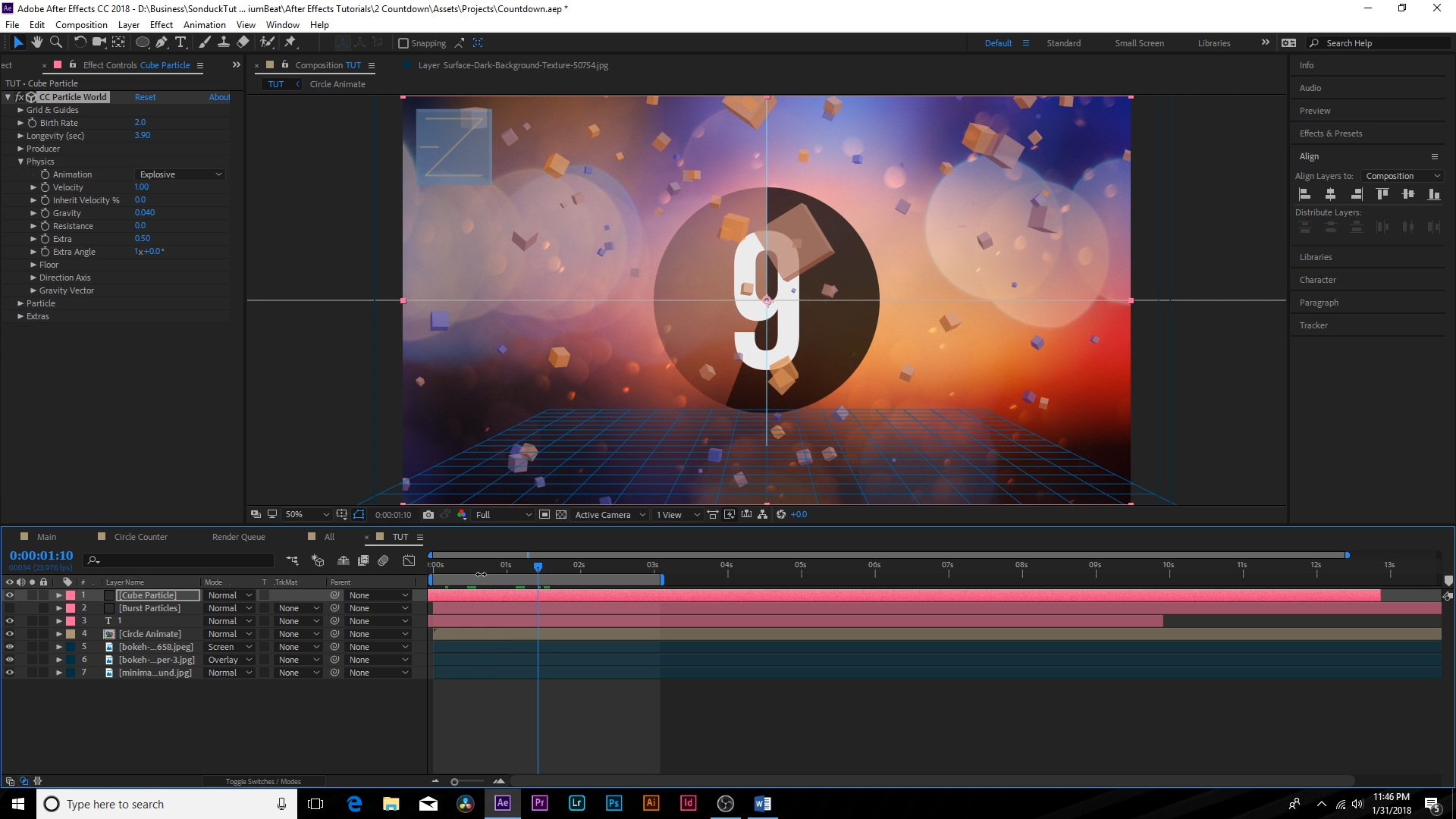 """Animate A """"Top 10 Countdown"""" Screen Using After Effects — Screenshot"""
