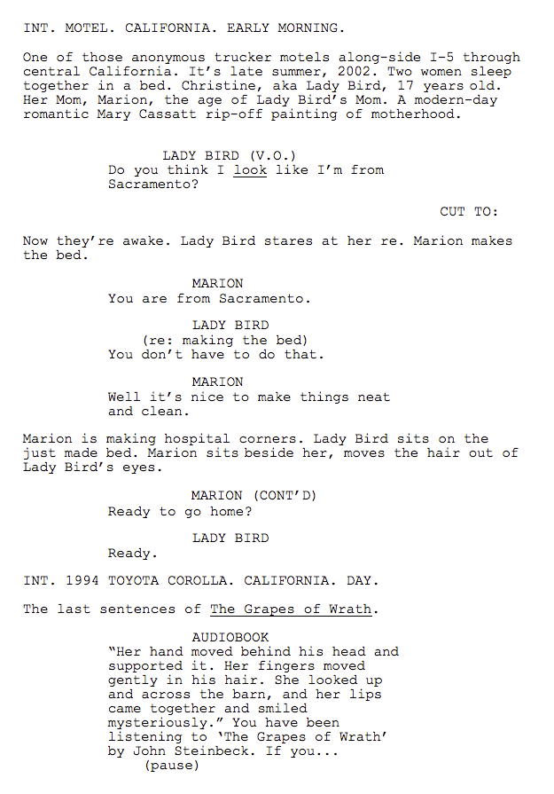 Lady Bird screenplay