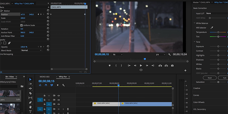 Create Seamless Transitions Using the Whip Pan — Keyframing