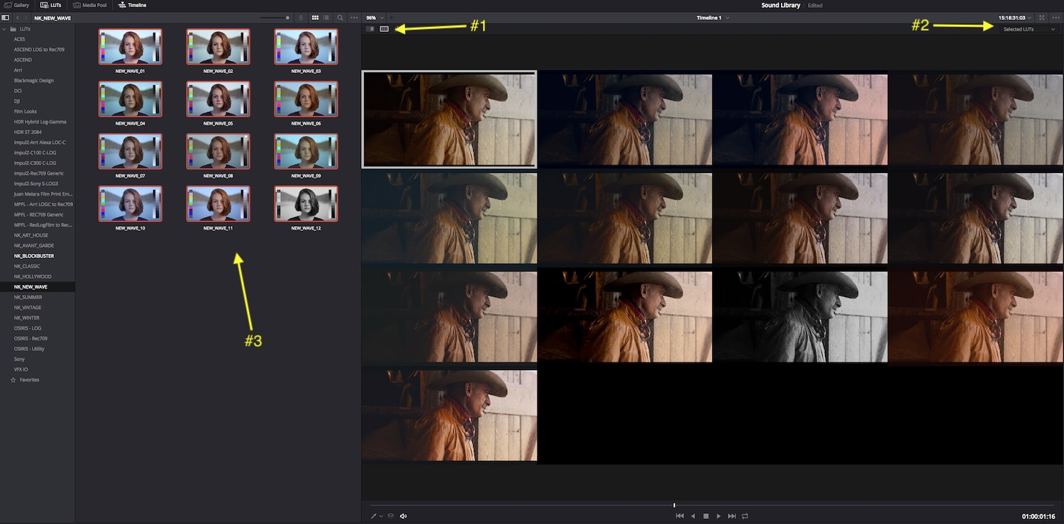 visually compare LUTs in Resolve