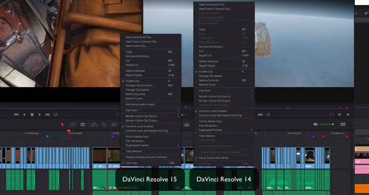 The New Features of DaVinci Resolve 15's Edit Page — Contextual Menus