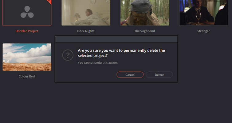 What You Need to Know about Working with Project Files in DaVinci Resolve — Permanent Deletion
