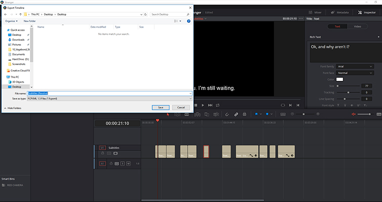 The Lowdown on Working With Subtitles In DaVinci Resolve 14 — Exporting