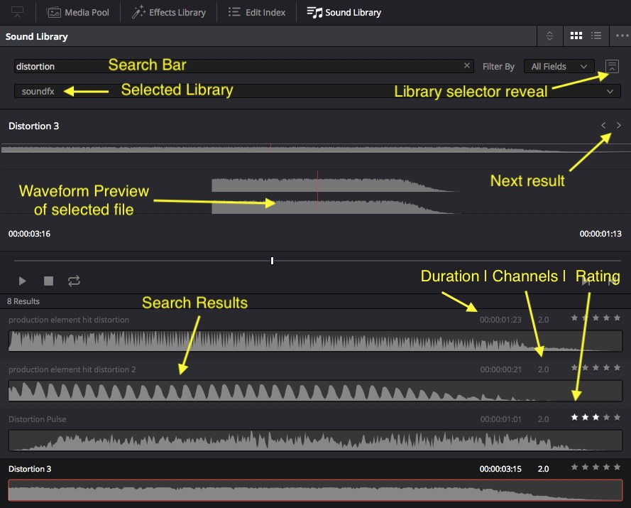 How to Add Sound Effects to a Sound Library in DaVinci Resolve 15 — Added Effects