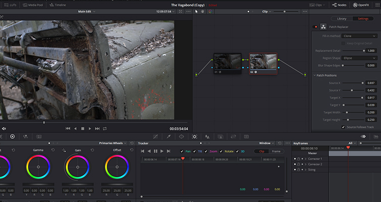 Remove Unwanted Shot Features with Resolve 15's Patch Replacer — Fill-in Method