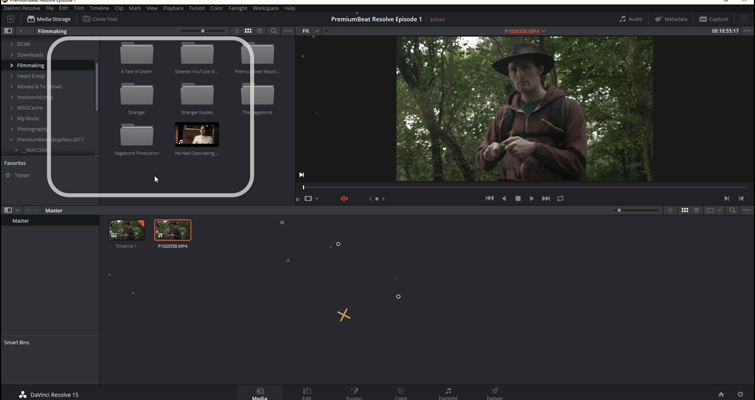 DaVinci Resolve 15 Video Crash Course — The Media Page — Media Browser