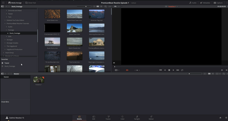 DaVinci Resolve 15 Video Crash Course — The Media Page — Import Folder