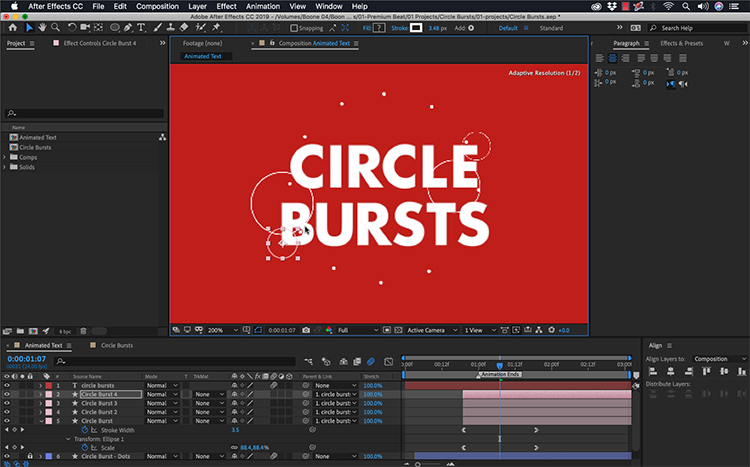How to Create an Animated Circle Burst in Adobe After Effects — Incorporate Shape