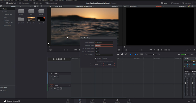 DaVinci Resolve 15 Video Crash Course — The Edit Page — Creating a Timeline