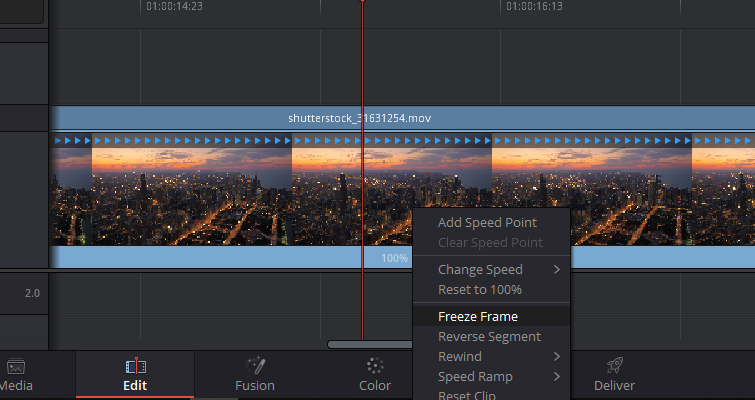Quick Tip: Creating Stills and Pauses In Resolve 15 — Retime Controls