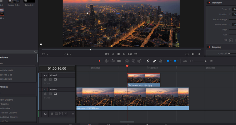 Quick Tip: Creating Stills and Pauses In Resolve 15 — Place Still on Timeline