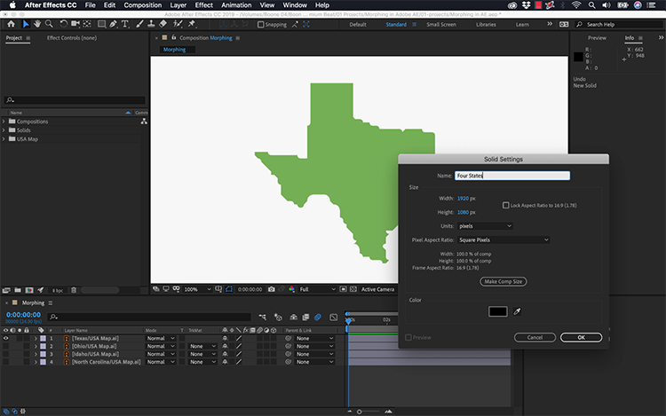 Video Tutorial: How to Morph Graphics Using Adobe After Effects — New Solid Layer
