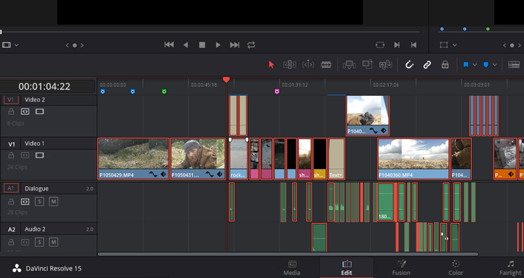 Using the Track Select Forward Tool in DaVinci Resolve 15 — All Clips