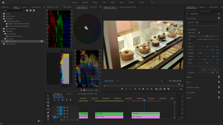 Isolando canais de imagem para trabalhar com Chroma e Luma no Premiere - Configurações de filtro de ruído