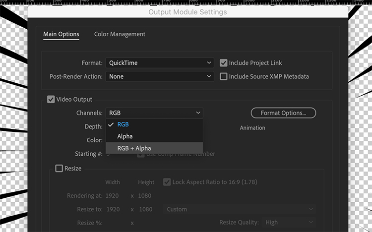Exporting Video With An Alpha Channel for Transparency in After Effects — Output Module Settings