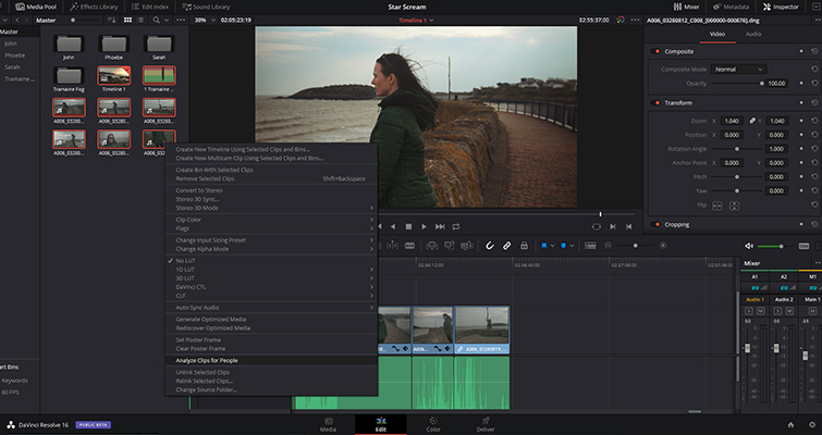 A Rundown Of The Edit Page Changes in DaVinci Resolve 16 — People Detection