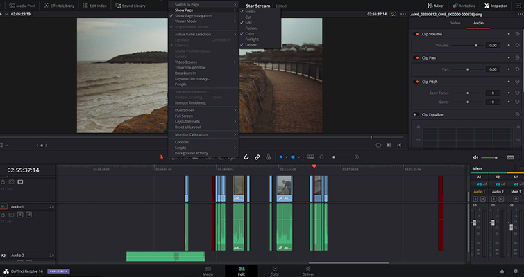 A Rundown Of The Edit Page Changes in DaVinci Resolve 16 — Hide Page Icons