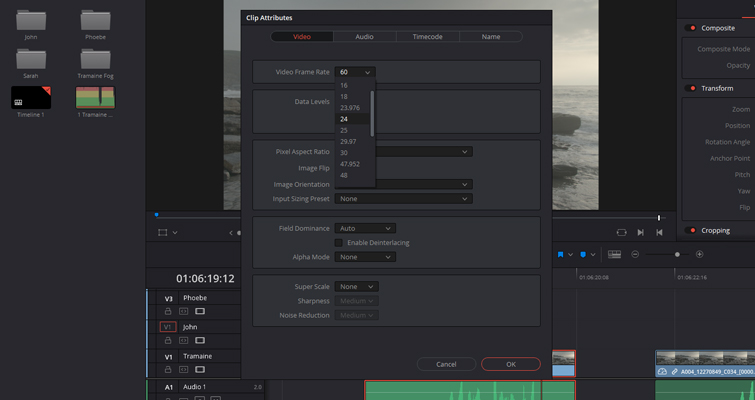 How to Work With Different Frame Rates With the Same File in Resolve - Change FPS