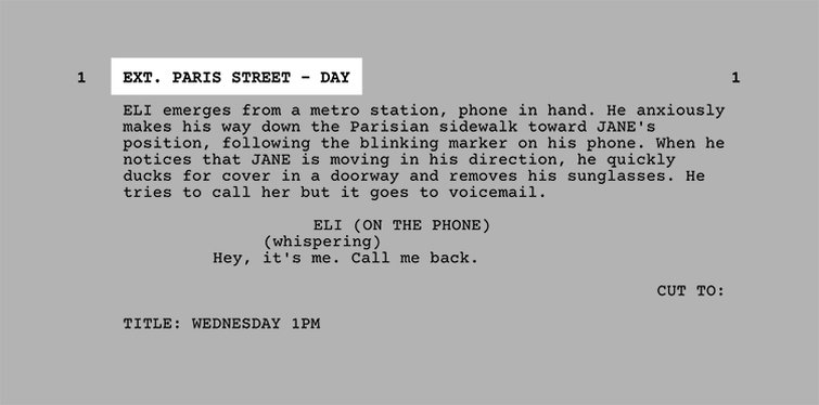 The Language of Making a Short - Formatting the Screenplay - Scene Setting