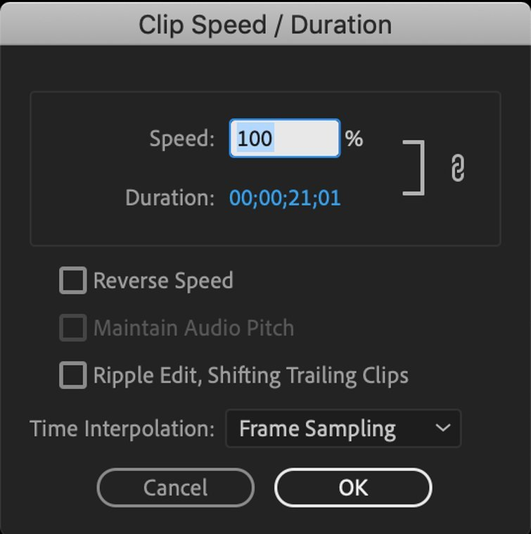 How to Speed Up or Reverse a Clip in Premiere Pro - Clip Speed/Duration