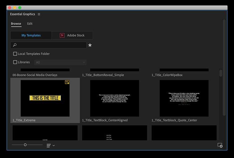 Cómo crear efectos de texto y animaciones en Premiere Pro - Instalar los archivos MOGRT