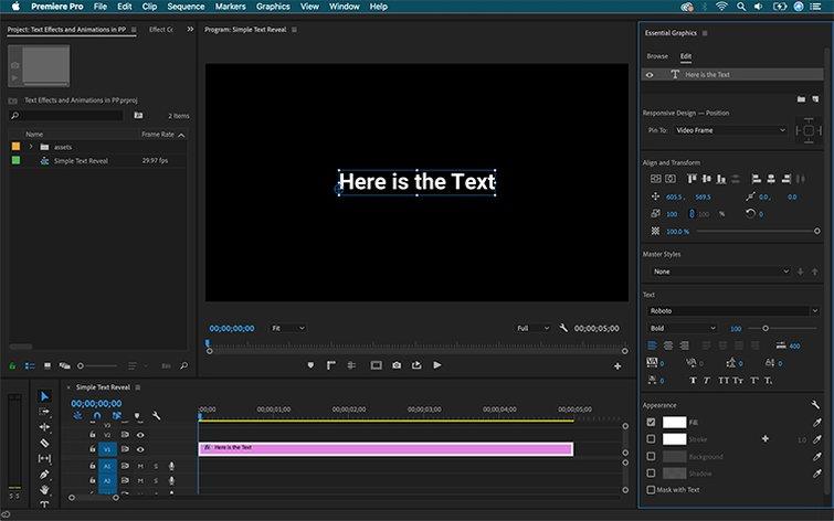 Cómo crear efectos de texto y animaciones en Premiere Pro - Agregar texto