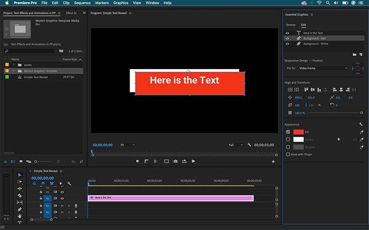 Cómo crear efectos de texto y animaciones en Premiere Pro: crear un fondo