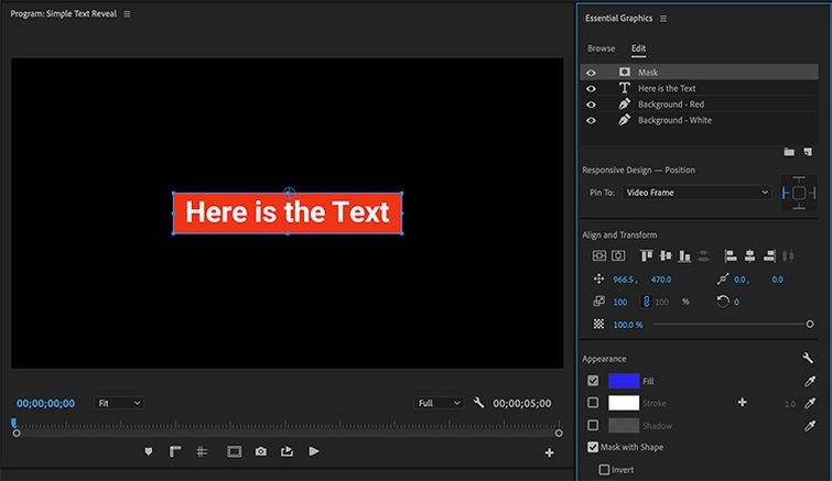 Cómo crear efectos de texto y animaciones en Premiere Pro: enmascarar el gráfico