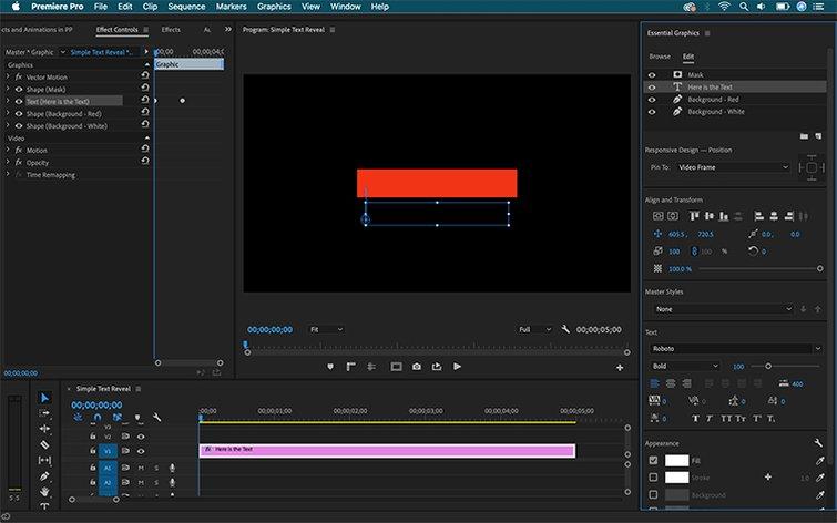 Cómo crear efectos de texto y animaciones en Premiere Pro - Animación y fondo de texto
