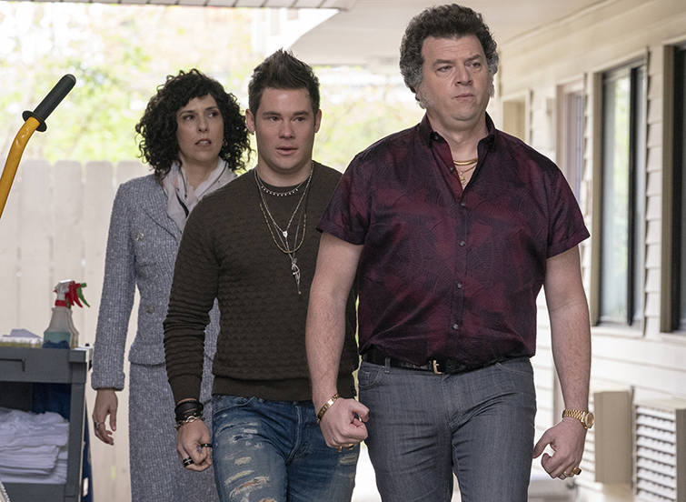"""The Three Main Characters in a Scene from """"Righteous Gemstones."""""""