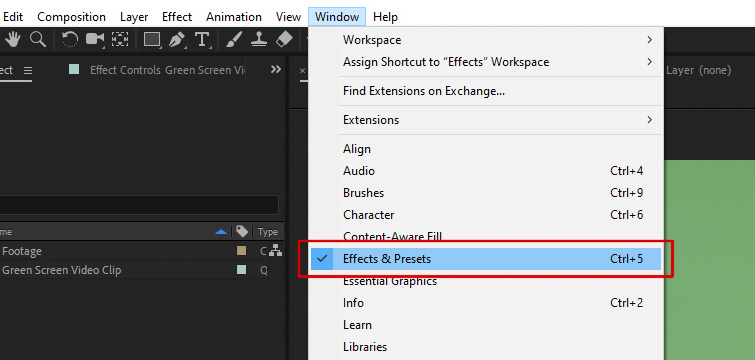 After Effects - Open Effects and Presets