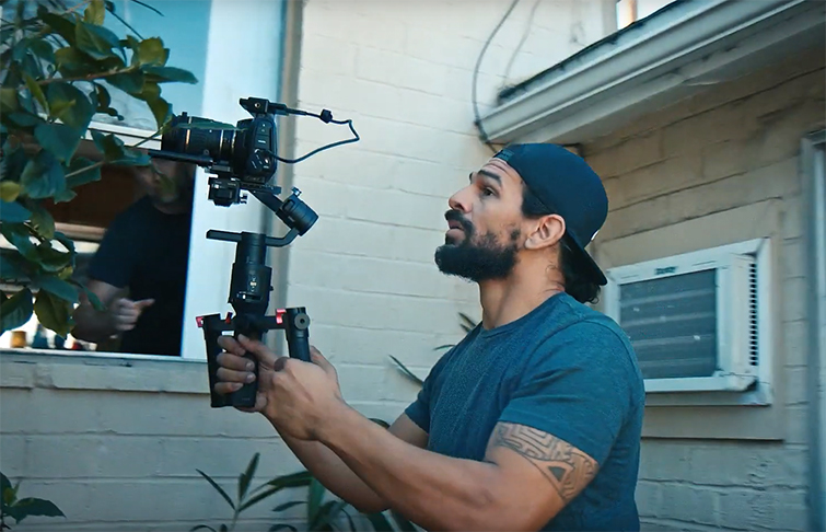 Using a gimbal in a tracking shot