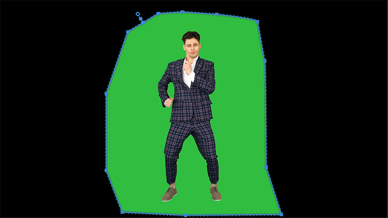 Moving Points Around Man on the Green Screen