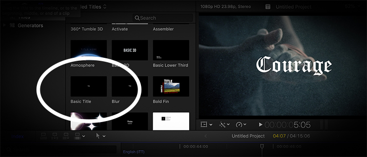Basic titles in the installed title generator panel on FCPX