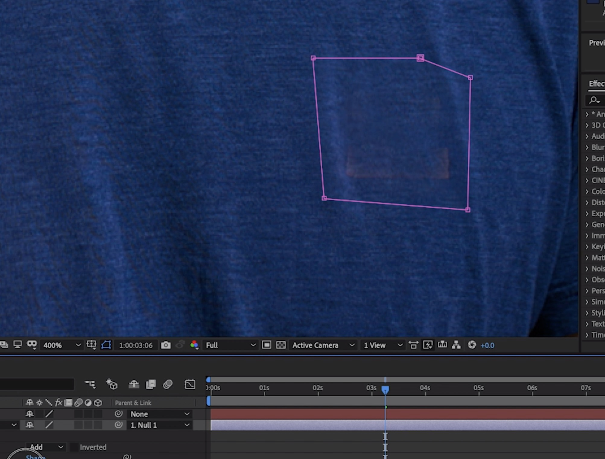 Remove logos from footage: Draw around the logo with the Pen tool.