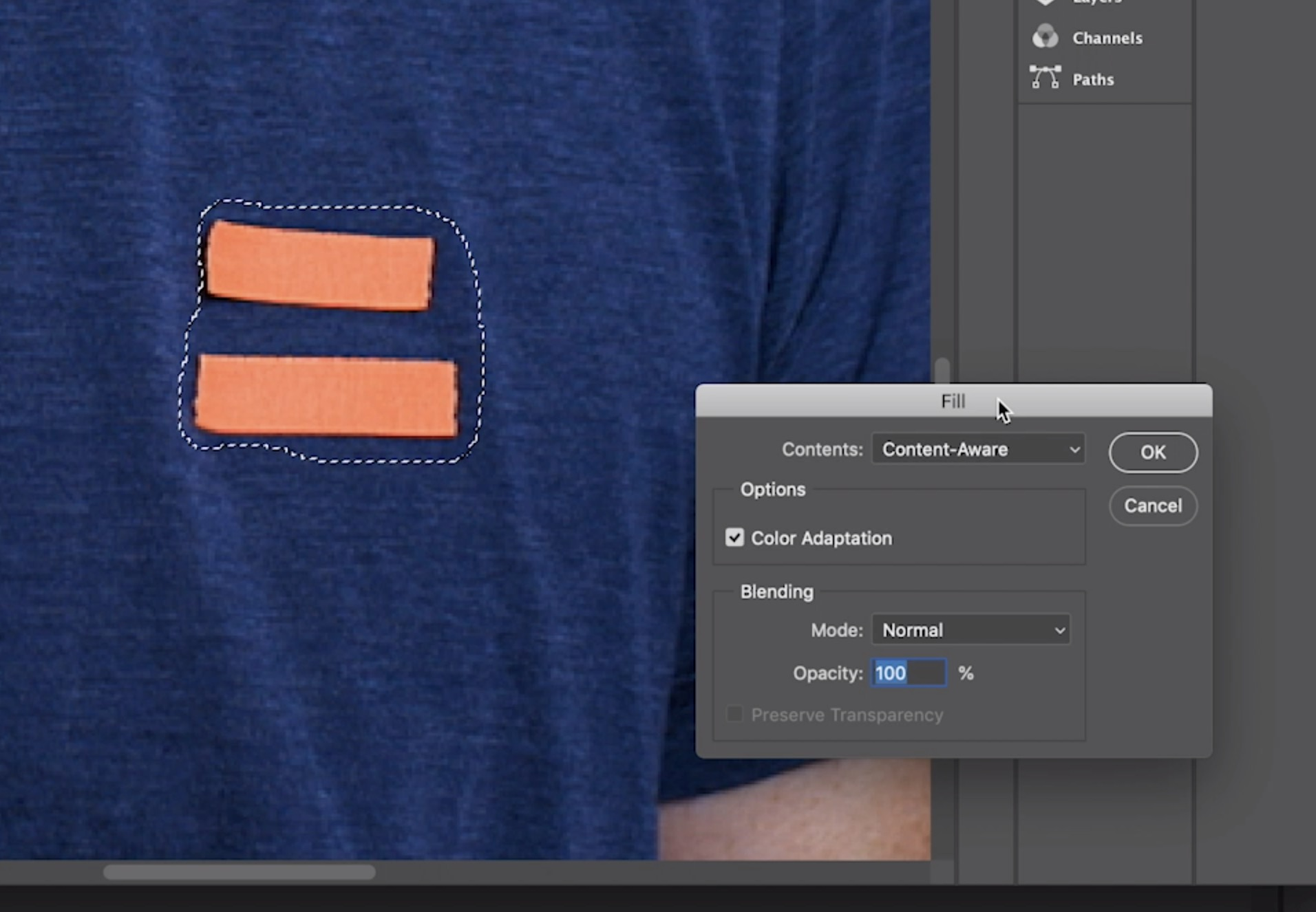 Remove logos from footage: Use Photoshop Content-Aware